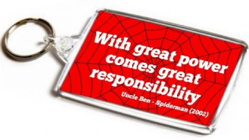 Spider-Man Quote Jumbo Keyring. With Great Power Comes Great Responsibility